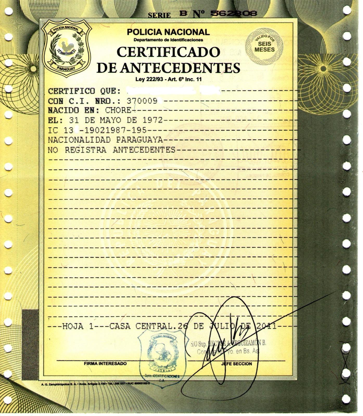 C Dula De Identidad Y Antecedentes Penales Paraguayos En